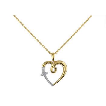 .11 ct. t.w. Diamond Heart Pendant in 14k Yellow Gold