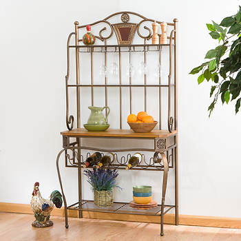 3-Shelf Ornate Baker's Rack with Wine Storage - Antique Bronze/Oak