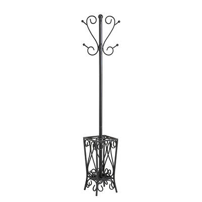 Scrolled Coatrack and Umbrella Stand - Black