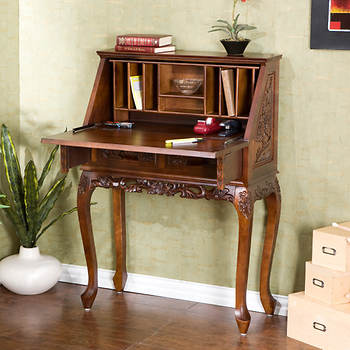 Handcarved Drop-Front Desk - Cherry