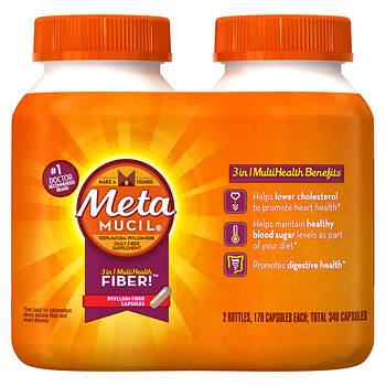 Metamucil Psyllium Fiber Supplement Capsules, 2 pk./170 ct.