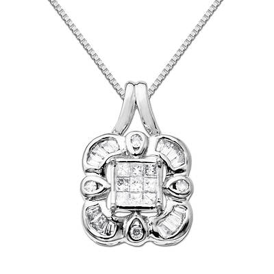 14k White Gold Princess-Cut, Tapered Baguette and Round Diamond Pendant