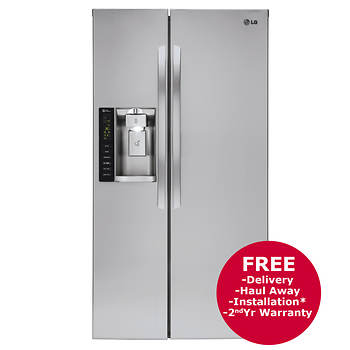LG 26-Cu.-Ft. Side-By-Side Refrigerator with Ice and Water Dispenser