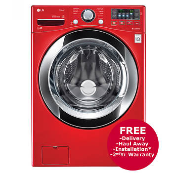 LG 4.5-Cu.-Ft. Front-Load Steam Washer - Red