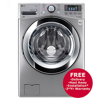 LG 4.5-Cu.-Ft. Front-Load Steam Washer - Graphite Steel