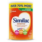 Similac Sensitive for Fussiness and Gas Infant Formula Powder, 40 oz.