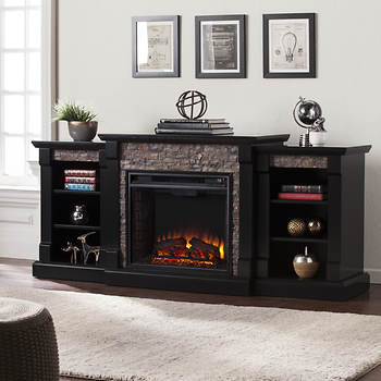 SEI Empire Electric Media Fireplace with Bookcase - Black