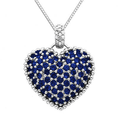 14k White Gold Round Sapphire and Diamond Heart-Shaped Pendant