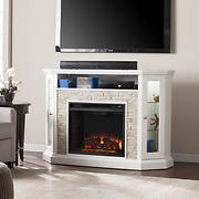 SEI Whitney Corner Media Fireplace with Bookcase - White