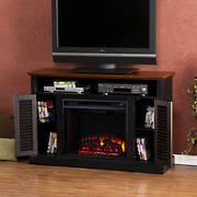SEI Clove Brook Electric Media Fireplace with Bookcase - Black/Walnut