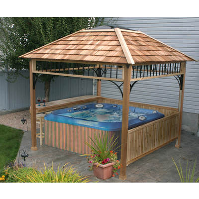 Outdoor Living Today Naramata 9' x 9' Naramata Western Red Cedar Spa Shelter