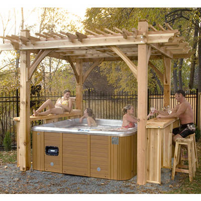 "Outdoor Living Today Spa Breeze 8'5"" x 8'5"" x 9' Western Red Cedar Spa Shelter"