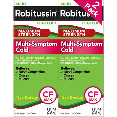 Robitussin CF Adult Formula Cough Suppressant, Expectorant and Nasal Decongestant, 8 Fl. Oz., 2-Pk