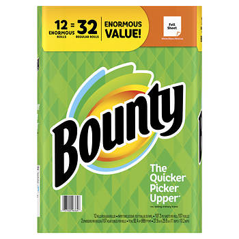 Bounty Paper Towels, 12 Enormous Rolls - White