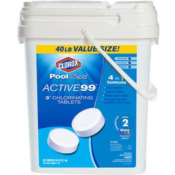 "Clorox Pool & Spa Active99 3"" Chlorinating Tabs, 40 lbs."