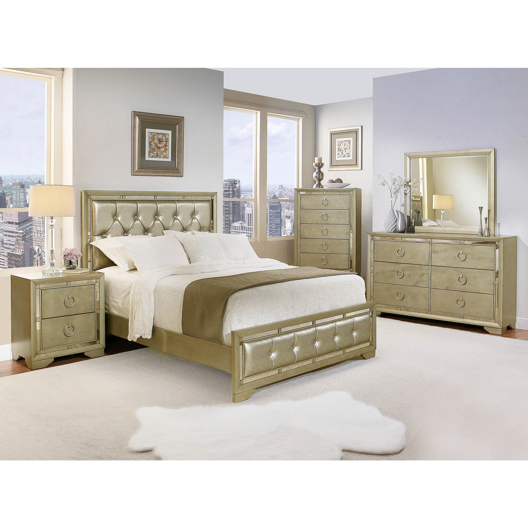 Grey Bedroom Furniture Set: Abbyson Living Penelope Queen-Size 6-Pc. Mirrored Bedroom