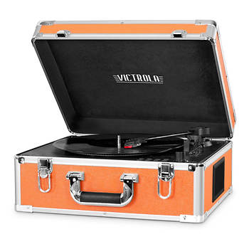 Victrola Full-Size Suitcase Record Player with Bluetooth - Orange