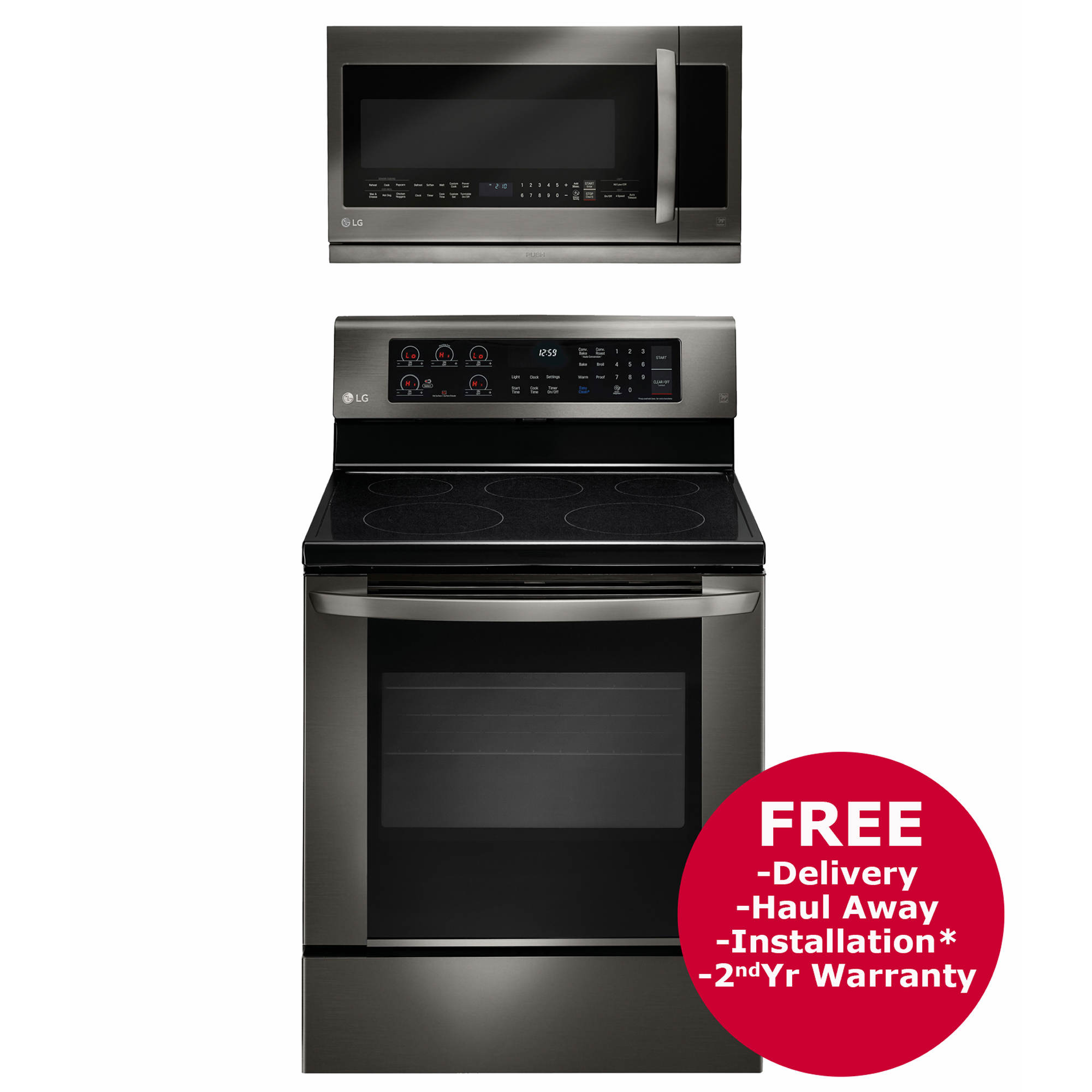 Lg single oven electric range and over the range microwave black stainless bj 39 s wholesale club - Red over the range microwave ...
