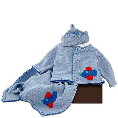 Baby Boy's Airplane Sweater, Cap and Blanket Gift Set