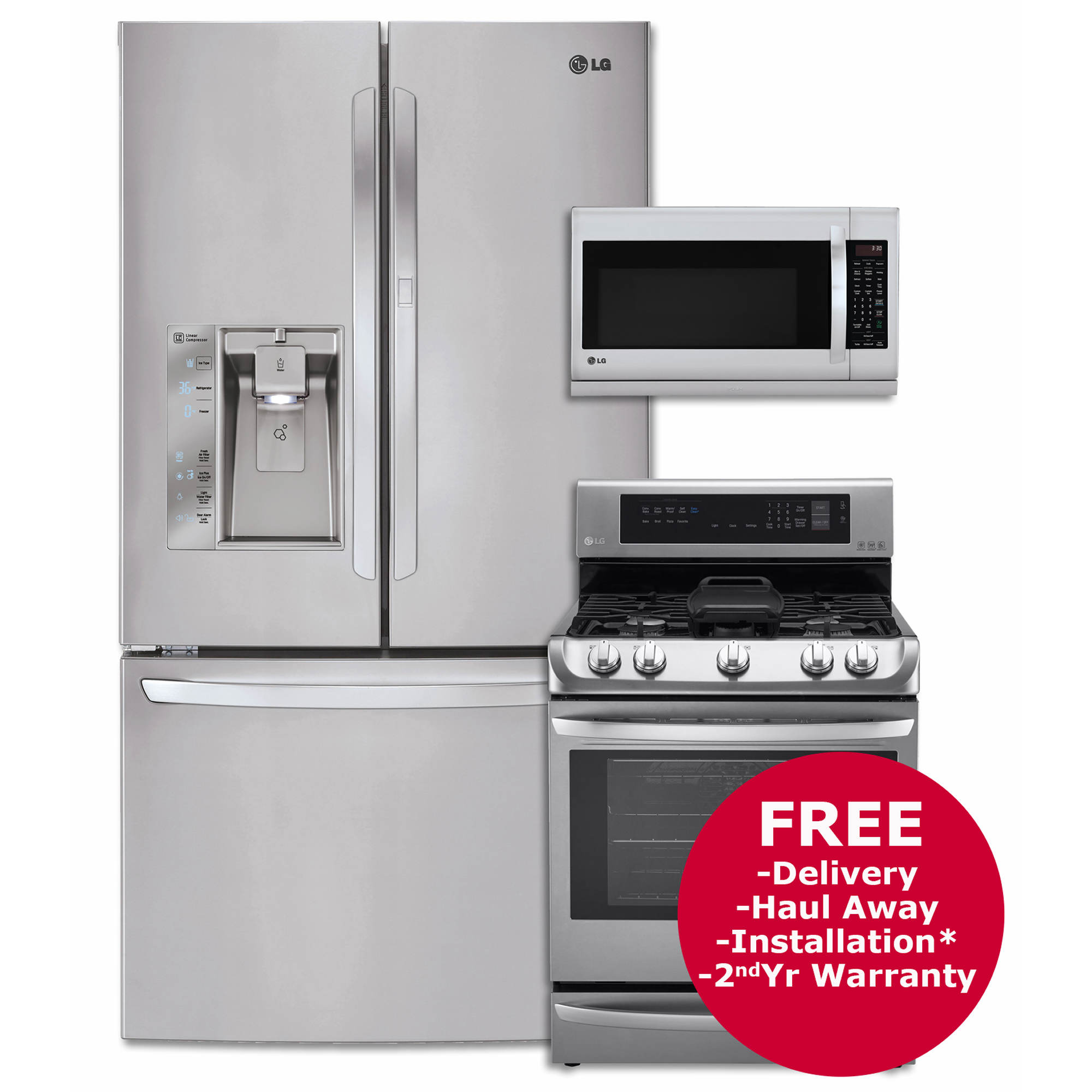 Lg 3 door french door refrigerator single oven gas range and over the range microwave - Red over the range microwave ...