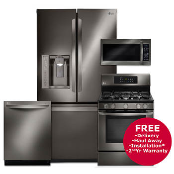 LG 3-Door French Door Refrigerator, Gas Range, Microwave and Top-Control Dishwasher - Black Stainless