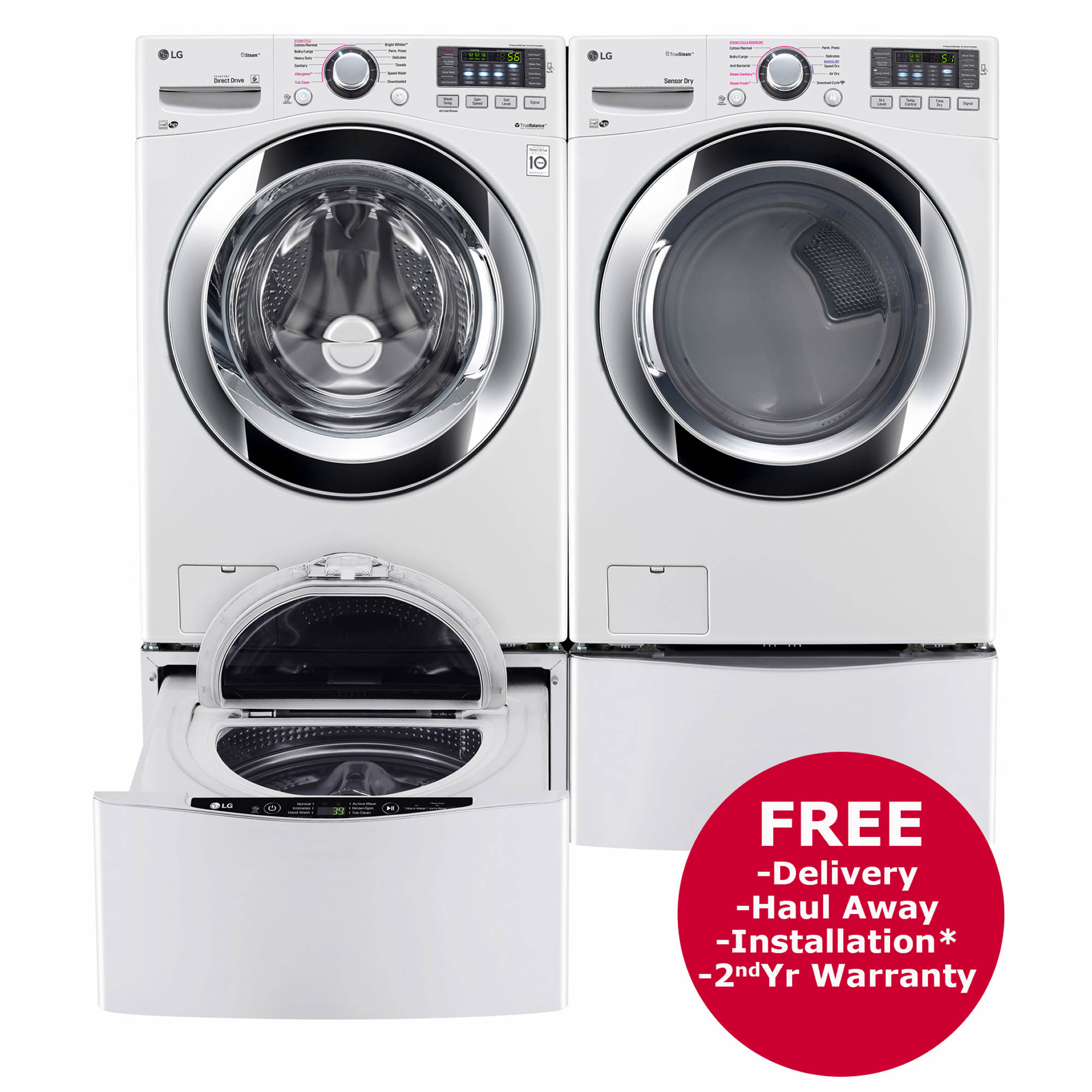Lg Front Load Steam Washer And Truesteam Gas Dryer With