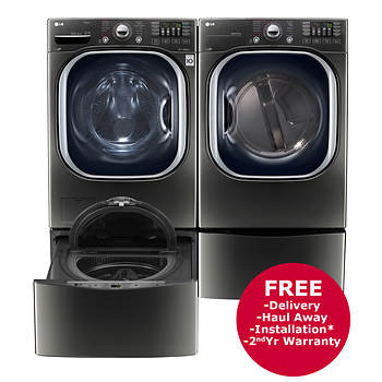 LG Front-Load TurboWash Washer, Electric Dryer, SideKick Pedestal Washer and Pedestal with Storage Drawer - Black Stainless