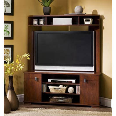 "South Shore Vertex Collection 48"" Corner Entertainment Center - Classic Cherry"