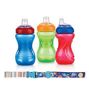 Nuby No-Spill 10-Oz. Easy-Grip Cup, 3 pk. with Keepeez Cup Strap - Ass