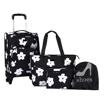 Kensie 4-Pc. Softside Travel Set - White Flowers