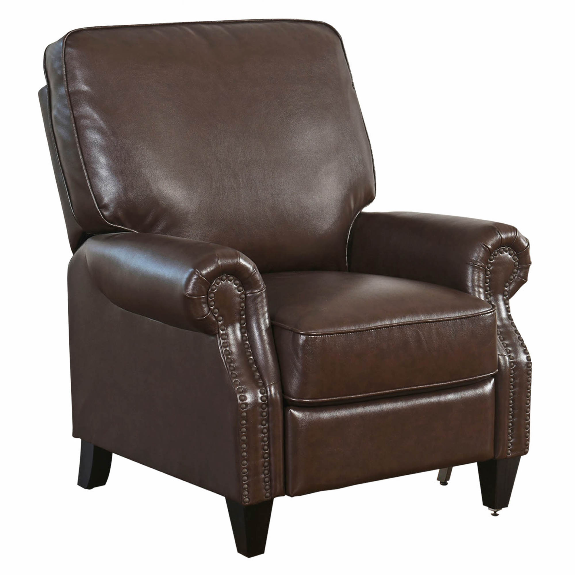 Abbyson living carla bonded leather recliner brown bj for Abbyson living sedona leather chaise recliner