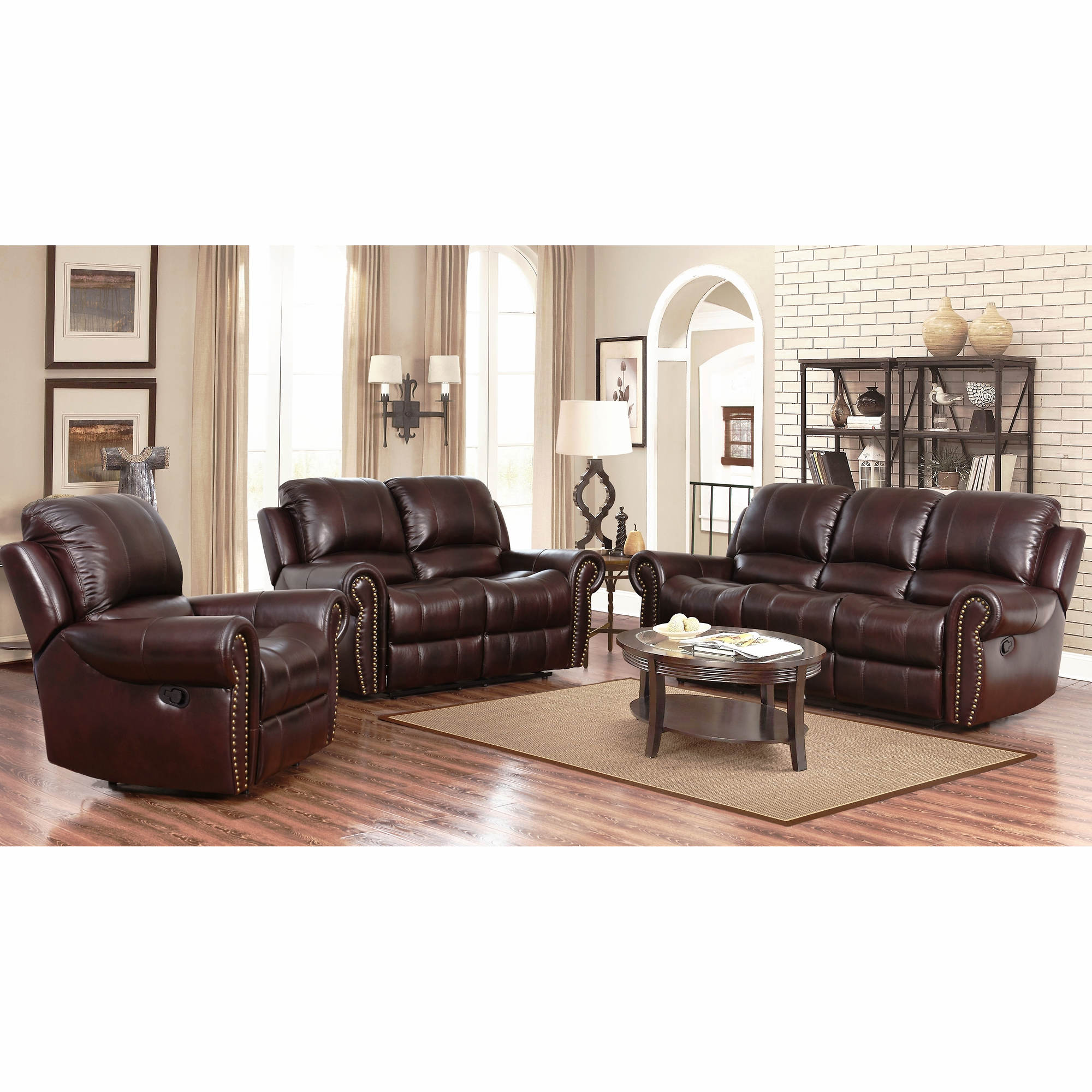 Abbyson Living Berkshire 3 Pc Leather Reclining Furniture