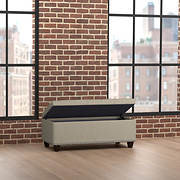 Handy Living Tufted Wall Hugger Bench Storage Ottoman - Barley Tan Lin