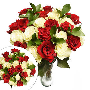 Two Dozen Red and White Roses Valentine's Day Bouquet