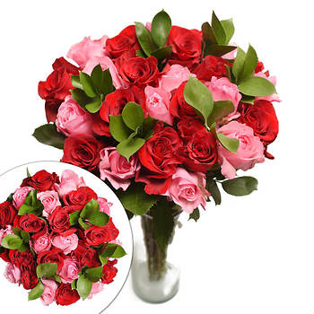 Red and Pink Roses, 24 Stems