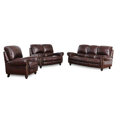 Abbyson Living Charlotte 3-Piece Leather Pushback Reclining Set - Burgundy