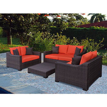 Atlantic San Diego 4-Pc. Patio Set with Bonus FeronGard Vinyl Preservative - Orange