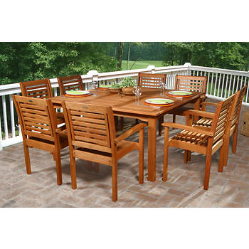 Amazonia Torino 9-Piece Eucalyptus Dining Set with Bonus Feron's Wood Sealer/Preservative