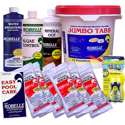 "Robelle Chemical Maintenance Kit with 3"" Jumbo Tabs for Above-Ground Pools up to 10,000 Gallons"