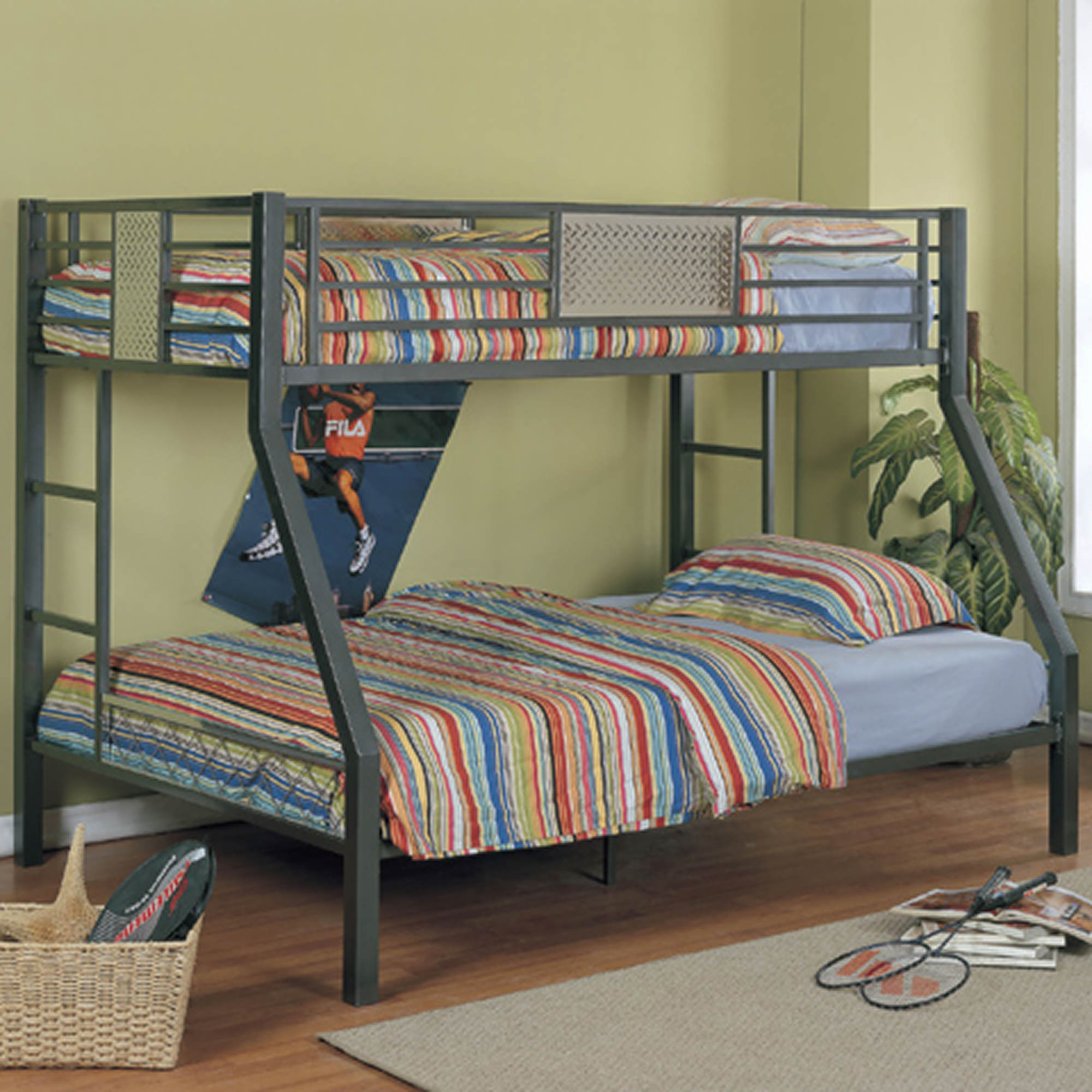 Powell Monster Bedroom Twin Full Size Bunk Beds Chrome