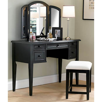 Powell Vanity with Mirror and Bench - Antique Black
