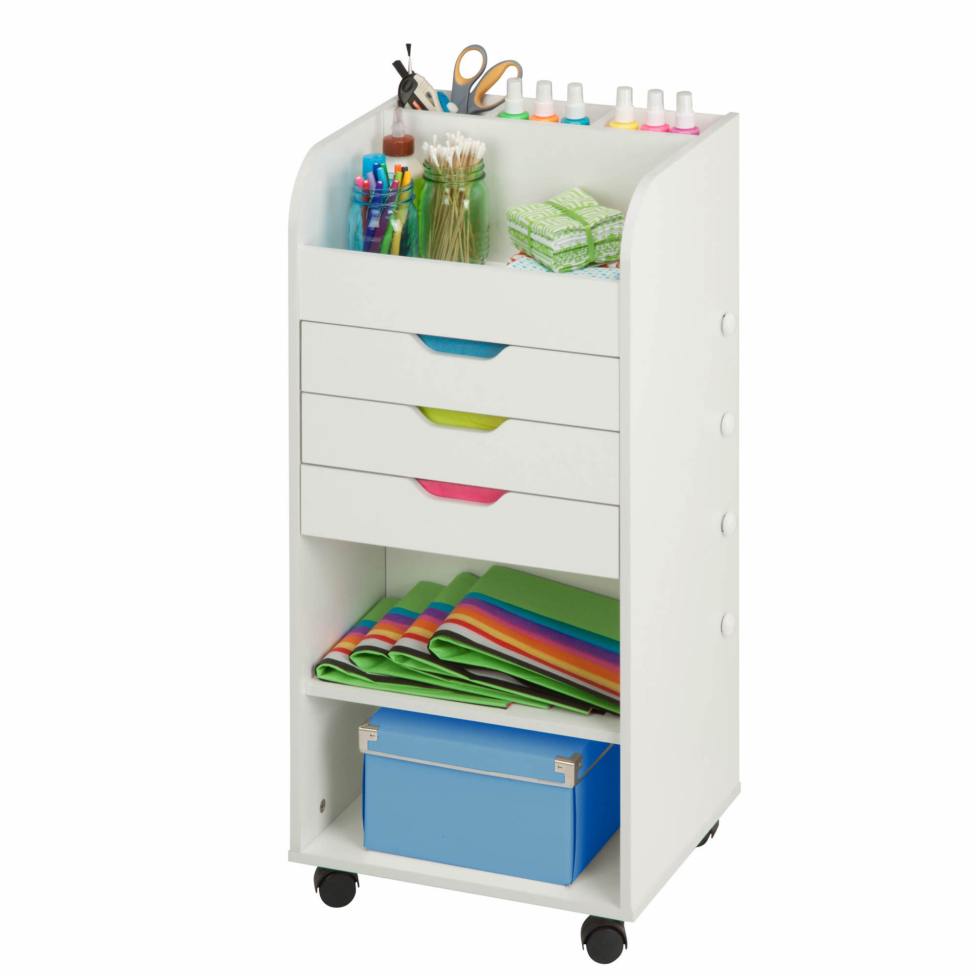 Honey can do 3 drawer rolling craft storage cart white for Rolling craft cart with drawers