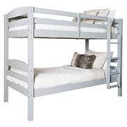 W. Trends Twin-Size Solid Wood Bunk Bed - Gray