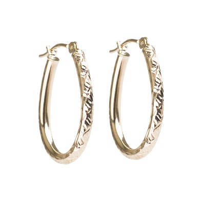 14kt Yellow Gold Diamond-Cut Pear-Shaped Hoop Earrings