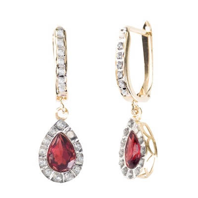 3.50 ct. t.w. Garnet Teardrop Earrings in 14kt Yellow Gold