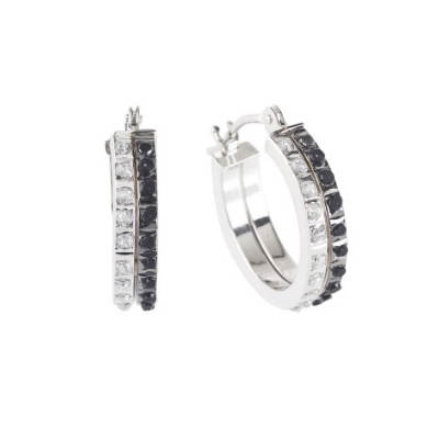 Black and White Diamond Accent Double Hoop Earrings in 14kt White Gold