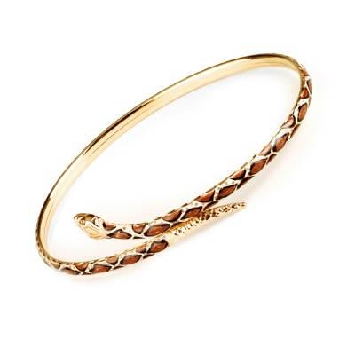 14kt Yellow Gold and Enamel Snake Bangle Bracelet