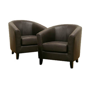 Baxton Studio Belinda Bonded Leather Club Chairs, Set of 2 - Dark Brown