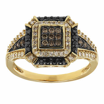 .50 ct. t.w. Black, White and Chocolate Diamond Ring in 14K Yellow Gold