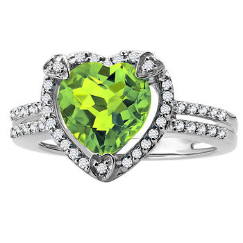 2.00 Carat Peridot and Diamond Accent Heart-Shaped Ring in Sterling Silver